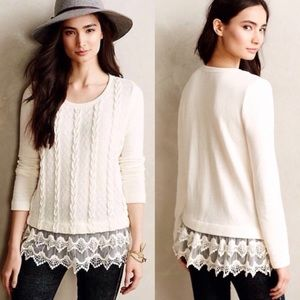 🆕 Listing! Anthropologie knit sweater, lace trim